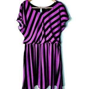 EUC Purple & Black Striped Dress